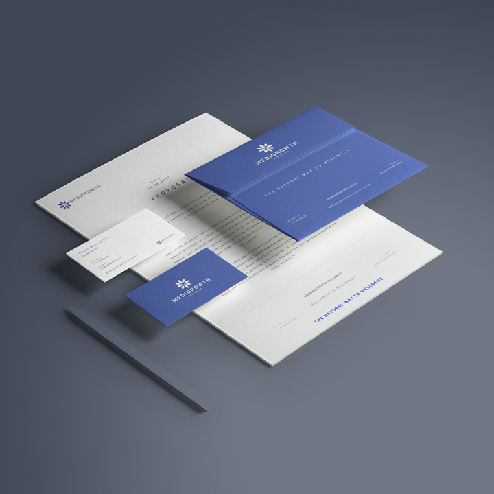Medigrowth Stationery Design