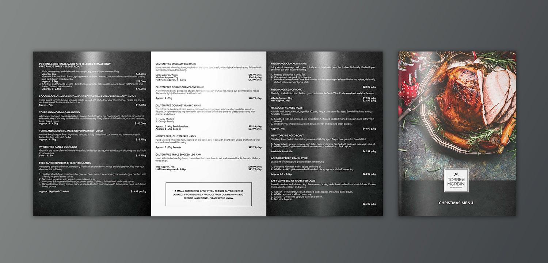 Torre & Mordini Menu Print Collateral